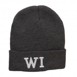 WI Wisconsin State Embroidered Cuff Beanie