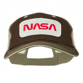 White NASA Big Size Cotton Twill Mesh Patched Cap - Brown Beige