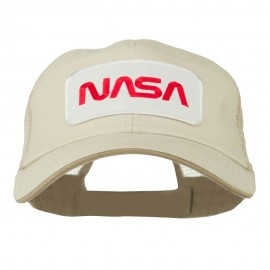 White NASA Big Size Cotton Twill Mesh Patched Cap