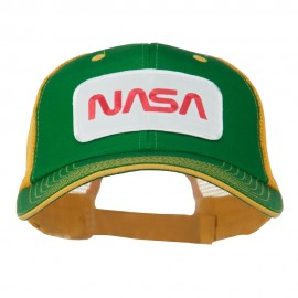White NASA Big Size Cotton Twill Mesh Patched Cap - Kelly Gold