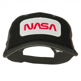 White NASA Big Size Cotton Twill Mesh Patched Cap - Black Grey