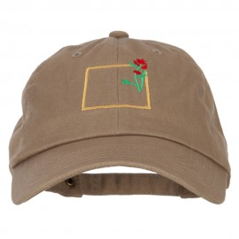 Wyoming Indian Paintbrush with Map Embroidered Unstructured Washed Cap