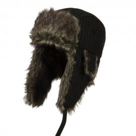 Big Size Wool Pinstripe Trooper Hat - Black