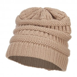 Women's Patterned Knit Beanie Cap - Camel