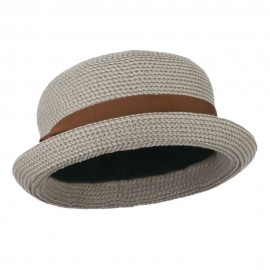 Women's Paper Bowler Shaped Hat with Rhinestone Detail - Taupe