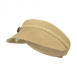 Women's UPF 50+ Visor with Buckle Accent - Tan Tweed