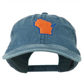 Wisconsin State Map Embroidered Washed Cotton Cap