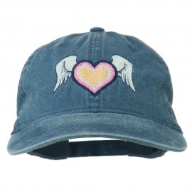 Heart Angel Wings Embroidered Washed Cap - Navy