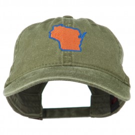 Wisconsin State Map Embroidered Washed Cotton Cap - Olive Green