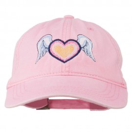 Heart Angel Wings Embroidered Washed Cap