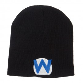 Circle Wario Embroidered Short Beanie - Black