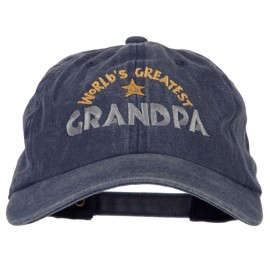 World Greatest Grandpa Embroidered Washed Cotton Twill Cap