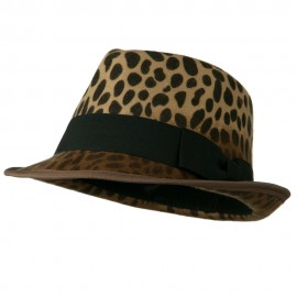 Woman's Animal Print Striped Ribbon Fedora Hat