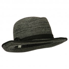 Women's Triple Hat Band Wool Fedora - Black