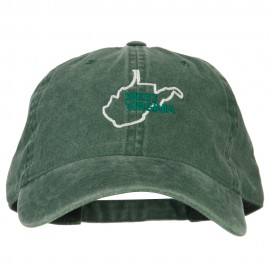 West Virginia with Map Outline Embroidered Washed Cotton Twill Cap