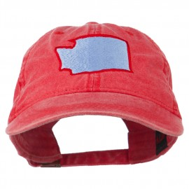 Washington State Map Embroidered Washed Cotton Cap - Red