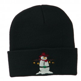 Western Snowman Christmas Embroidered Beanie - Navy