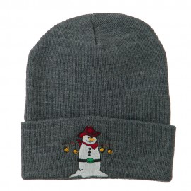 Western Snowman Christmas Embroidered Beanie - Grey