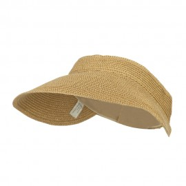 Women's UPF 50+ Metallic Poly Paper Braid Visor - Tan