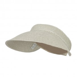 Women's UPF 50+ Metallic Poly Paper Braid Visor - White