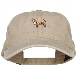Chihuahua Embroidered Washed Buckled Cap