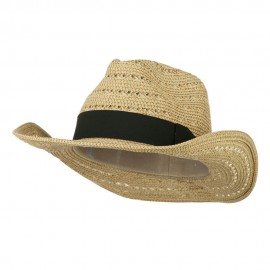 Women's Gold Metallic Paper Straw Fedora