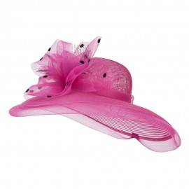 Polka Dot Net Bow Wide Sinamay Hat