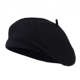Wool Beret with Bead Spiral Design - Black