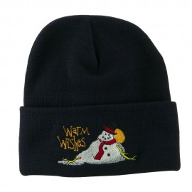 Warm Wishes Snowman Embroidered Beanie