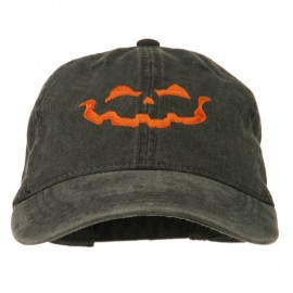 Halloween Jack O Lantern Embroidered Washed Dyed Cap - Black