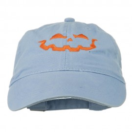 Halloween Jack O Lantern Embroidered Washed Dyed Cap