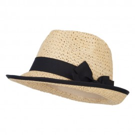 Women's Bow Accent Toyo Braid Fedora - Tan