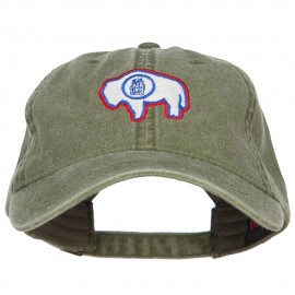 Wyoming State Flag Embroidered Washed Cap