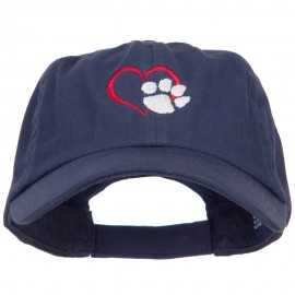 Heart Outline with Paw Embroidered Cotton Cap