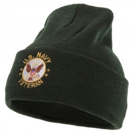 US Navy Veteran Circle Logo Embroidered 12 Inch Long Knitted Beanie