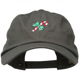 Candy Cane with Bow Embroidered Unstructured Cap
