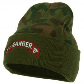 US Army 1st Ranger Bn Embroidered Camo Knit Long Cuff Beanie