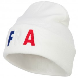 France FRA Flag Embroidered Long Beanie