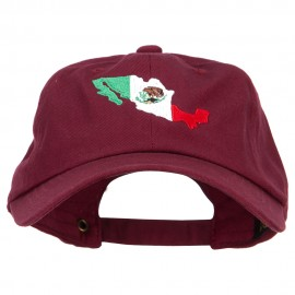 Mexico Flag with Map Embroidered Unstructured Washed Cap