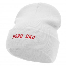 Hero Dad Embroidered 12 Inch Long Knitted Beanie