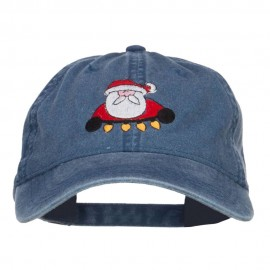 Santa with Christmas Lights Embroidered Washed Cap