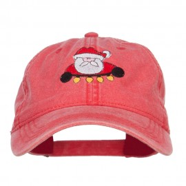 Santa with Christmas Lights Embroidered Washed Cap - Red