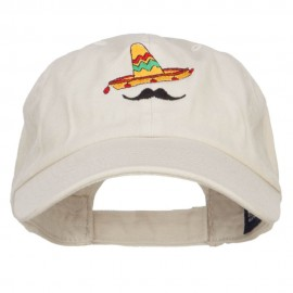 Mexico Sombrero Mustache Embroidered Low Cap