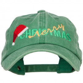 Merry Christmas Santa Hat Embroidered Unstructured Cap - Kelly