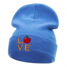 Love Apple Phrase Embroidered Long Knitted Beanie
