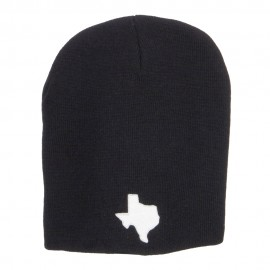 Texas Map Embroidered Big Short Beanie