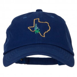 Texas Bluebonnet with Map Embroidered Unstructured Washed Cap
