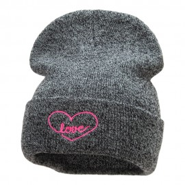 Radiant Love Embroidered Long Knitted Beanie