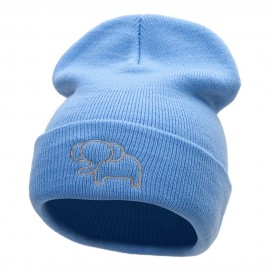 Delicate Elephant Outline Embroidered Knitted Long Beanie