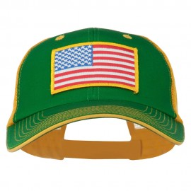 Yellow American Flag Big Size Cotton Twill Mesh Patched Cap - Kelly Gold
